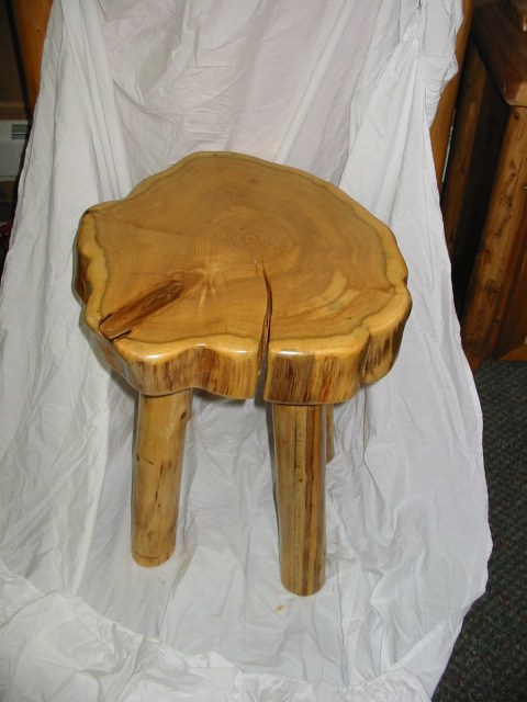 Round Log Top End Table